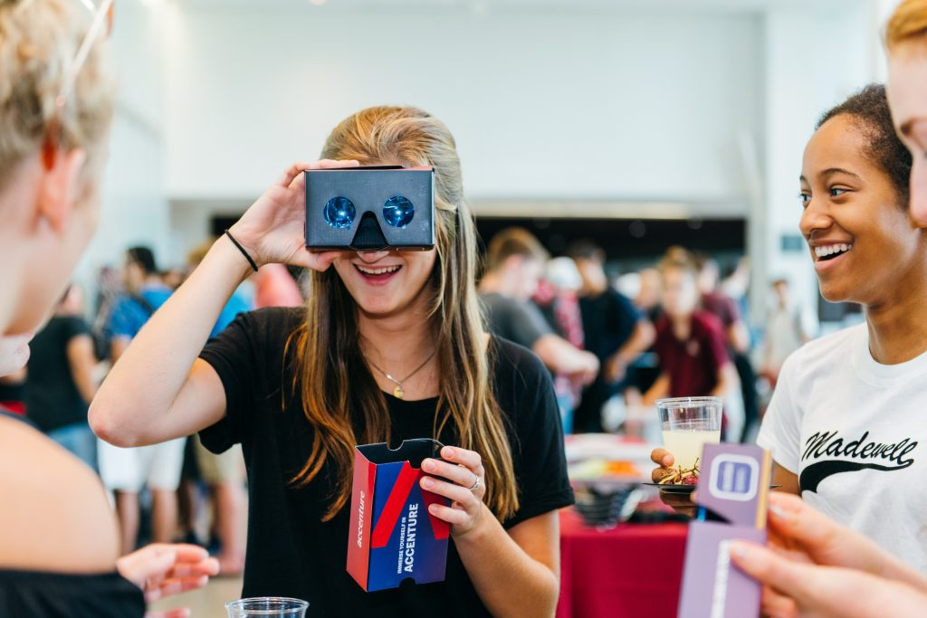 students having fun with VR